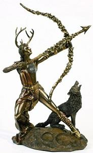 Artemis and Wolf statue