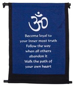 Royal blue banner with Om symbol and quote