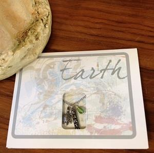 Earth greeting card and necklace combination