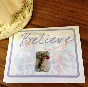 Believe greeting card and necklace combination