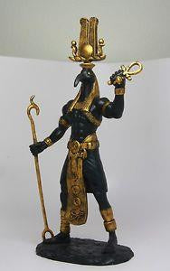 "12"" statue of Egyptian god Toth handpainted in black and gold"