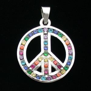 Pendant - Multi-Crystal Rainbow Peace Symbol - Sterling Silver