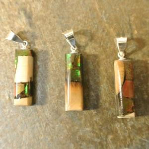 dima mammoth ivory and ammolite pendant