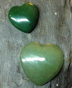 green aventurine hearts in 2 sizes
