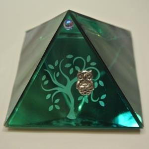 Tree of Life Glass Pyramid With Owl