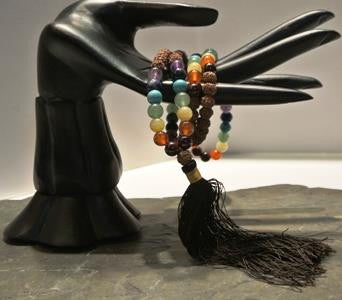 prayer mala chakras and rudraksha seeds