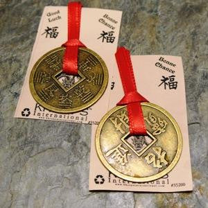 40mm chinese coin good luck card