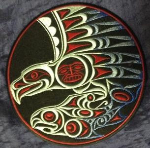 "Embroidery Iron On Patch - Eagle and Salmon - 8"" Diameter - Joe Wilson"