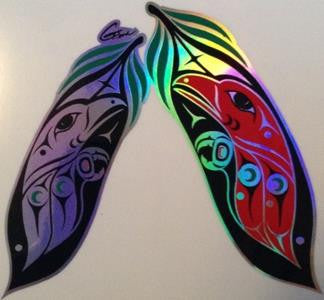 Feather Sticker with Prismatic Effect on Transparent Background