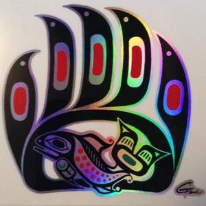 Bear Paw Sticker with Prismatic Effect on Transparent Background