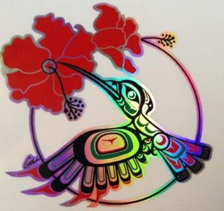 Prismatic Hummingbird Sticker on Transparent Background