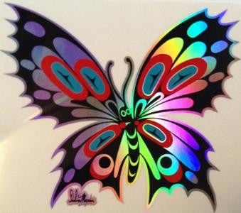 Butterfly Sticker with Prismatic Effect on Transparent Background