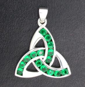 Pendant - Celtic Knot with Green Stones - Sterling Silver