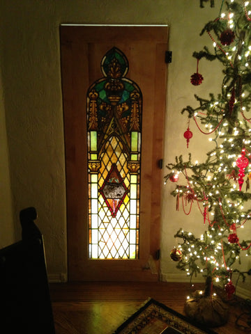 custom hand made stained glass reclaimed wood dorr