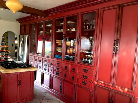 custom made red kitchen cabinets and antique glass hutch los angeles