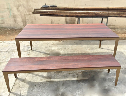The Chairs Are Made In Aluminum And We Added Metal Brackets To Enhance Table Bench Corners