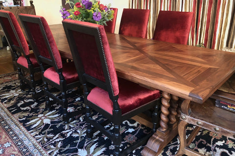parquet top walnut rope twist custom made long dining table in Los Angeles