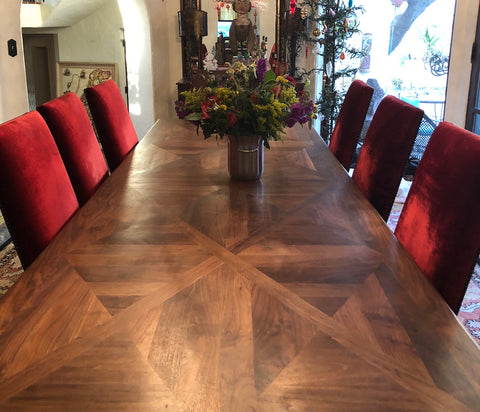 custom made solid walnut trestle table spanish style in los angeles