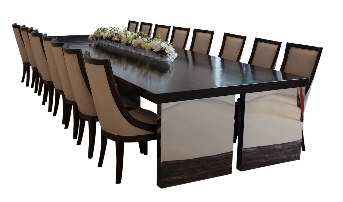 14 Foot Reclaimed Wood Dining Table With Chrome Legs