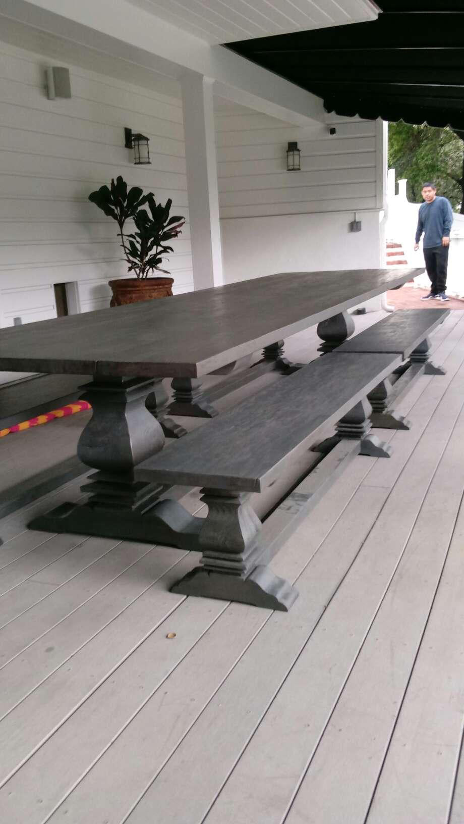 Custom Very Large Anaheim Dining Table And Benches