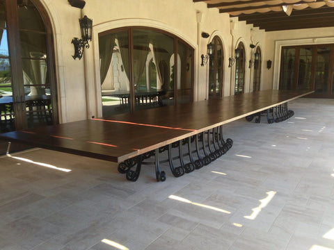 Custom Made 40 ft Outdoor Dining Table With Solid Iron Base and Reclaimed Wood Top