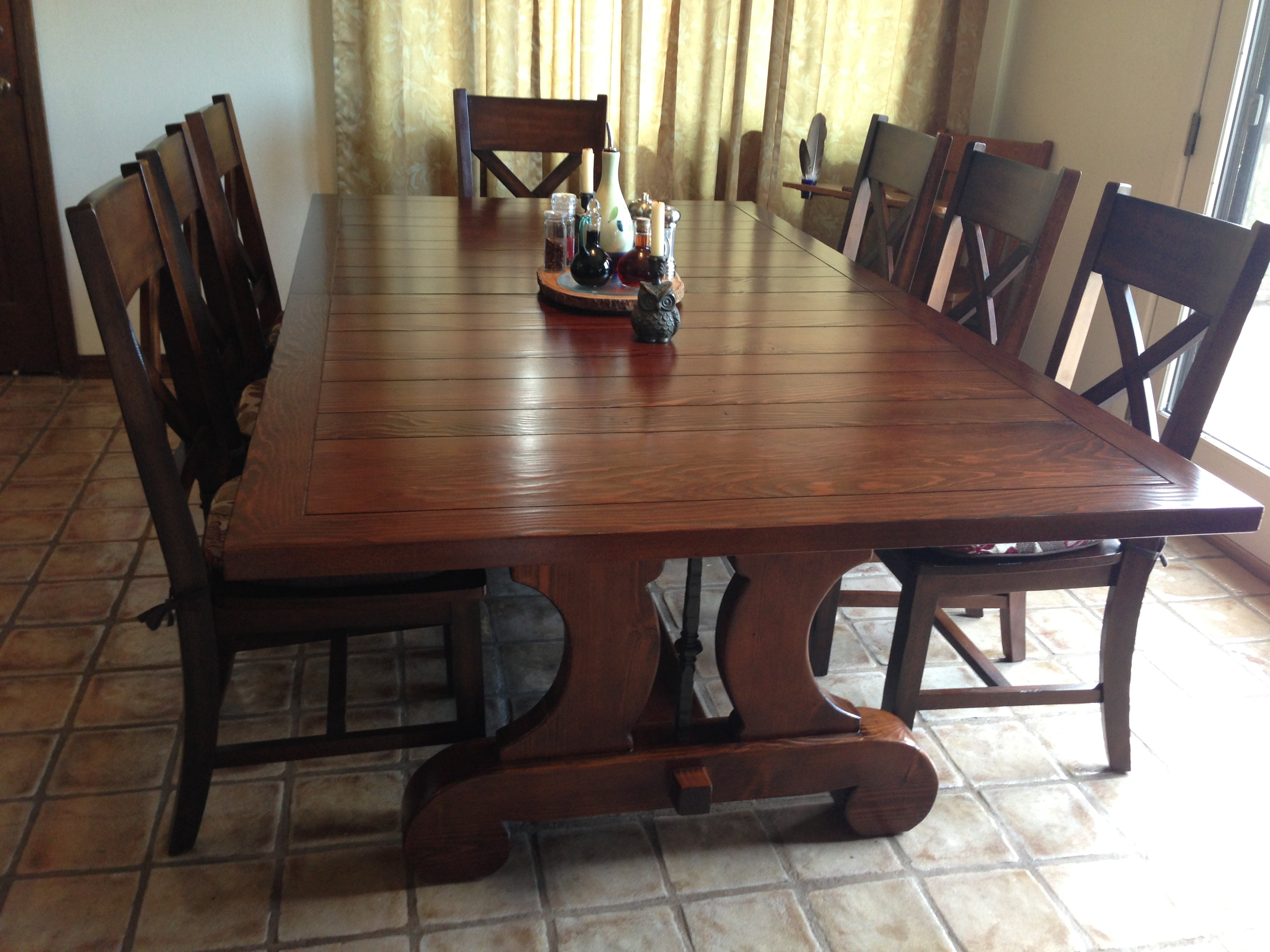 ... Lourdes Plank Top Trestle Dining Table In Reclaimed Wood