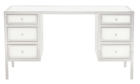 modern stainless steel 6 drawer desk with inset solid white glass