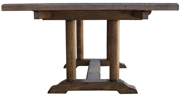 Cambria Rustic Extension Trestle Dining Table Built In
