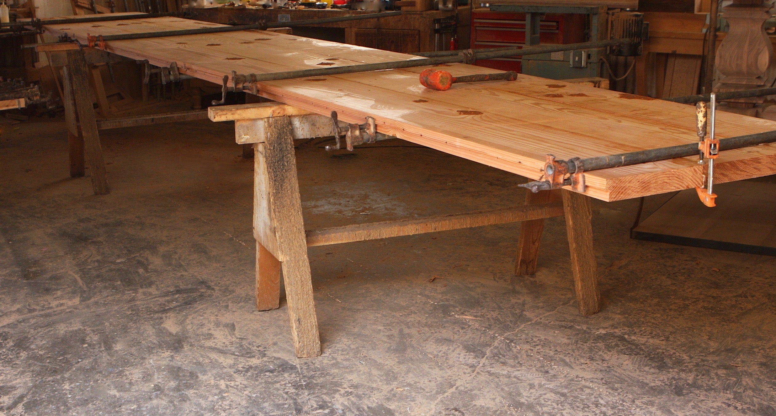 40 Ft Outdoor Dining Table With Solid Iron Base Mortise Tenon