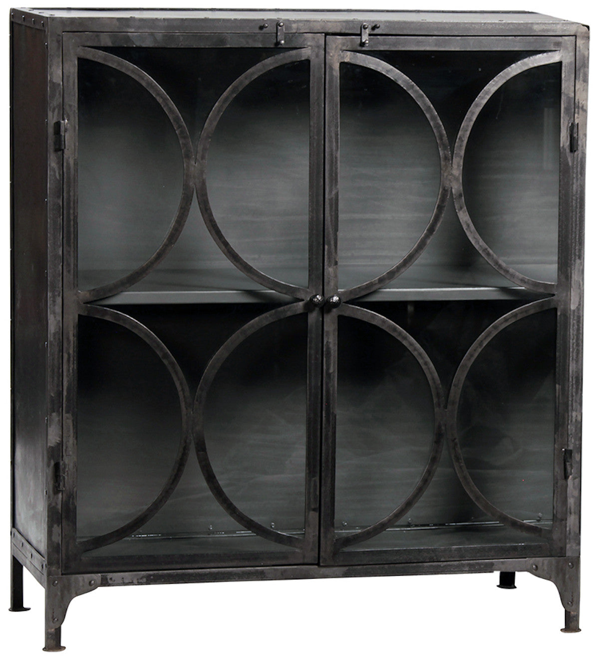 Delvin Metal Low Glass Bookcase, domAl272