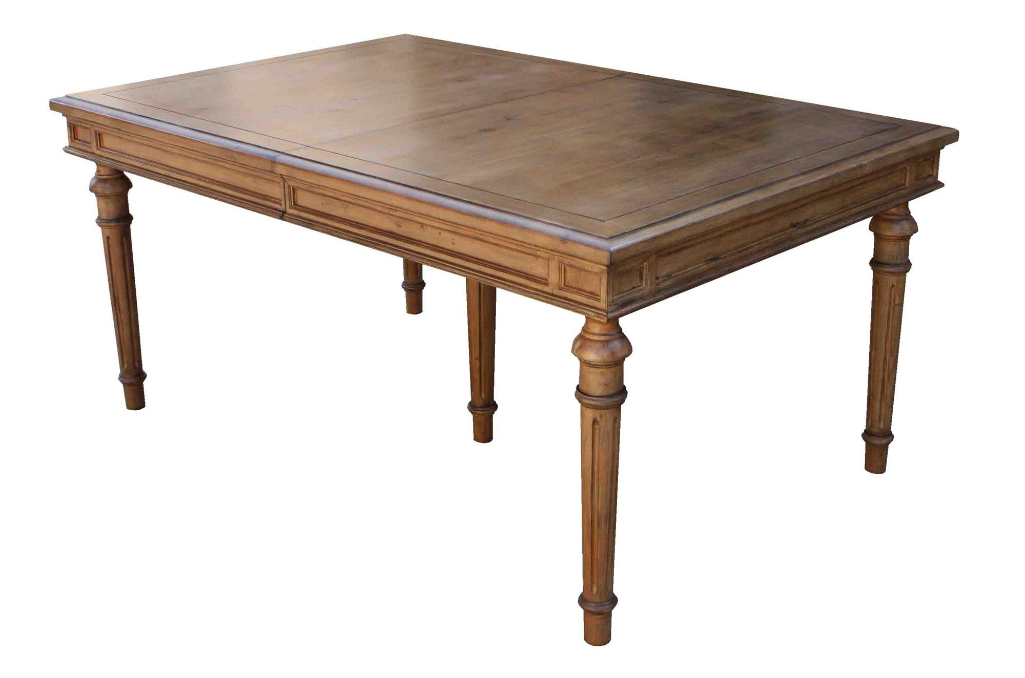 ... Classic Reclaimed Wood Colonial Fluted Leg Dining Table With Center  Extension ...