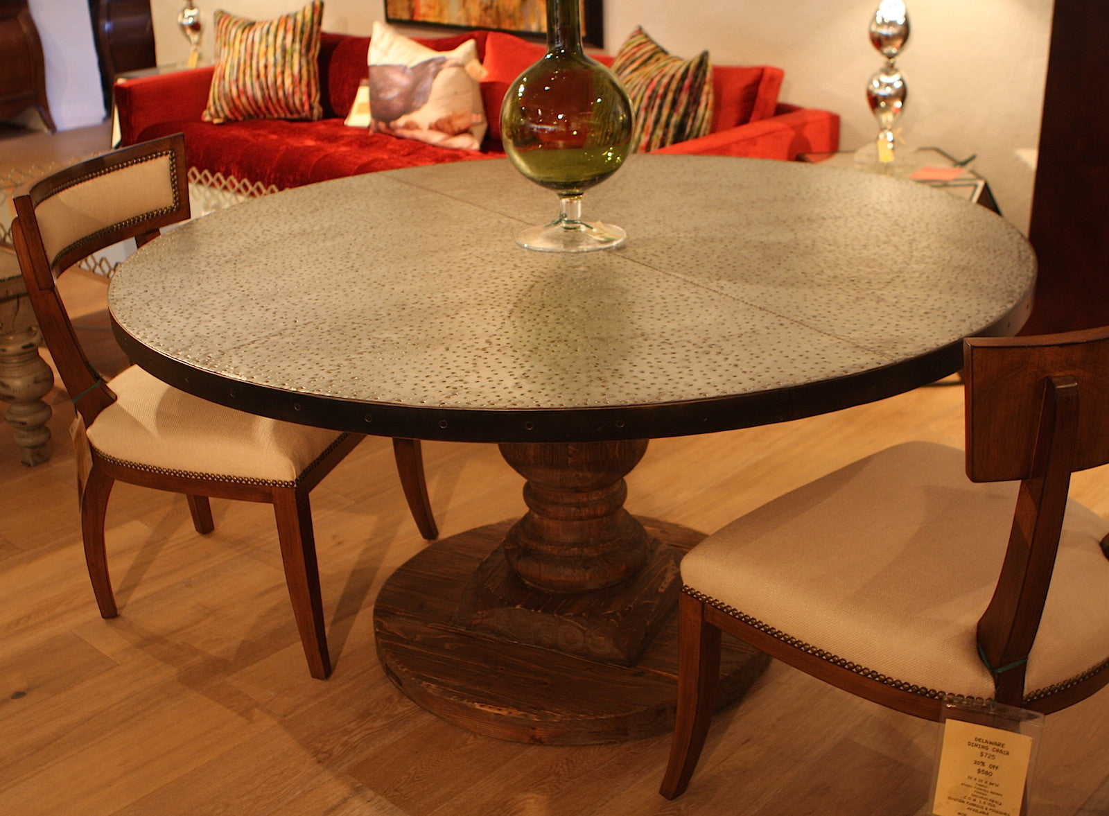 round pedestal dining table with zinc top