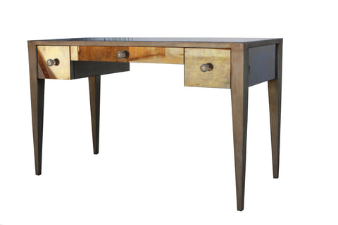 Lindsey Desk with Antique Mirror and Metal Legs