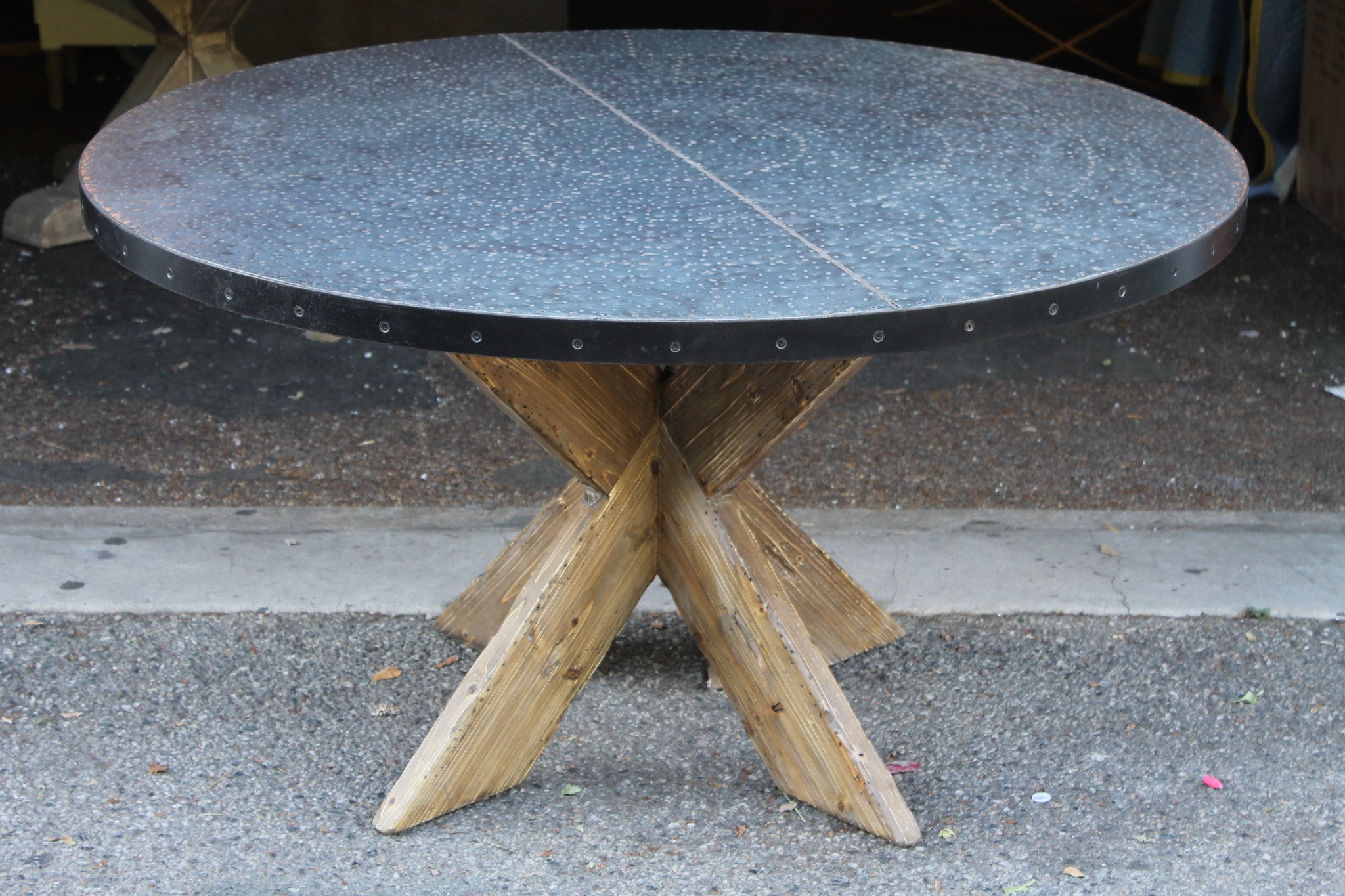 Hayward Zinc Top Round Dining Table With X Base – Mortise & Tenon