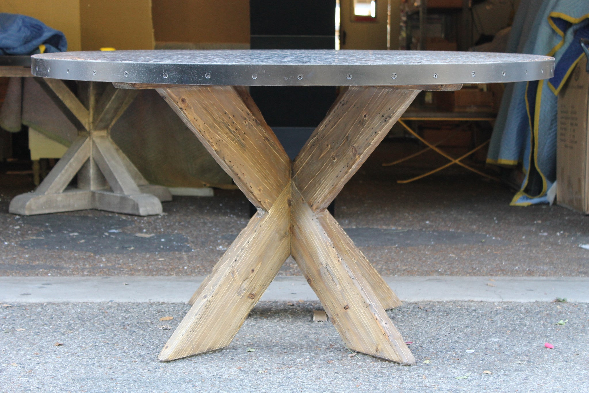 Hayward Zinc Top Round Dining Table With X Base Mortise Tenon