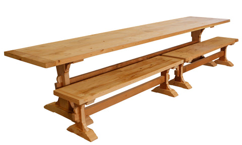 large family style trestle dining table and benches