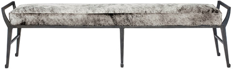 modern hair on hide leather and metal backless bench in grey finish