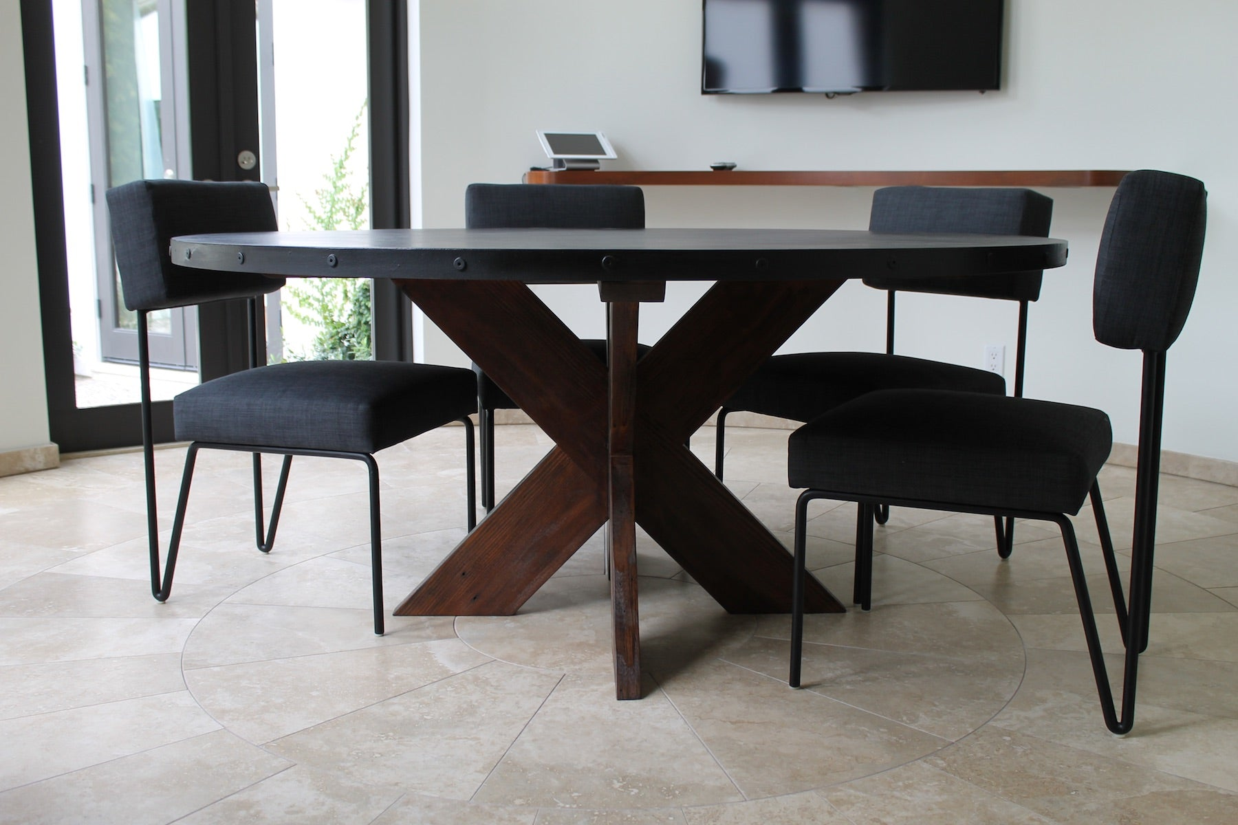 Modern Round Metal Top X Base Dining Table