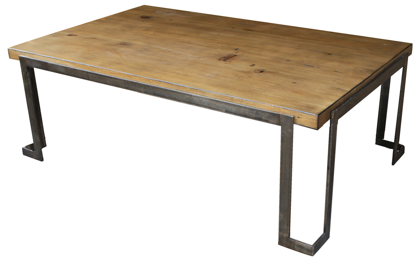 Chicago Industrial Steel And Cement Coffee Table Custom Built In Los Angeles Mortise Tenon