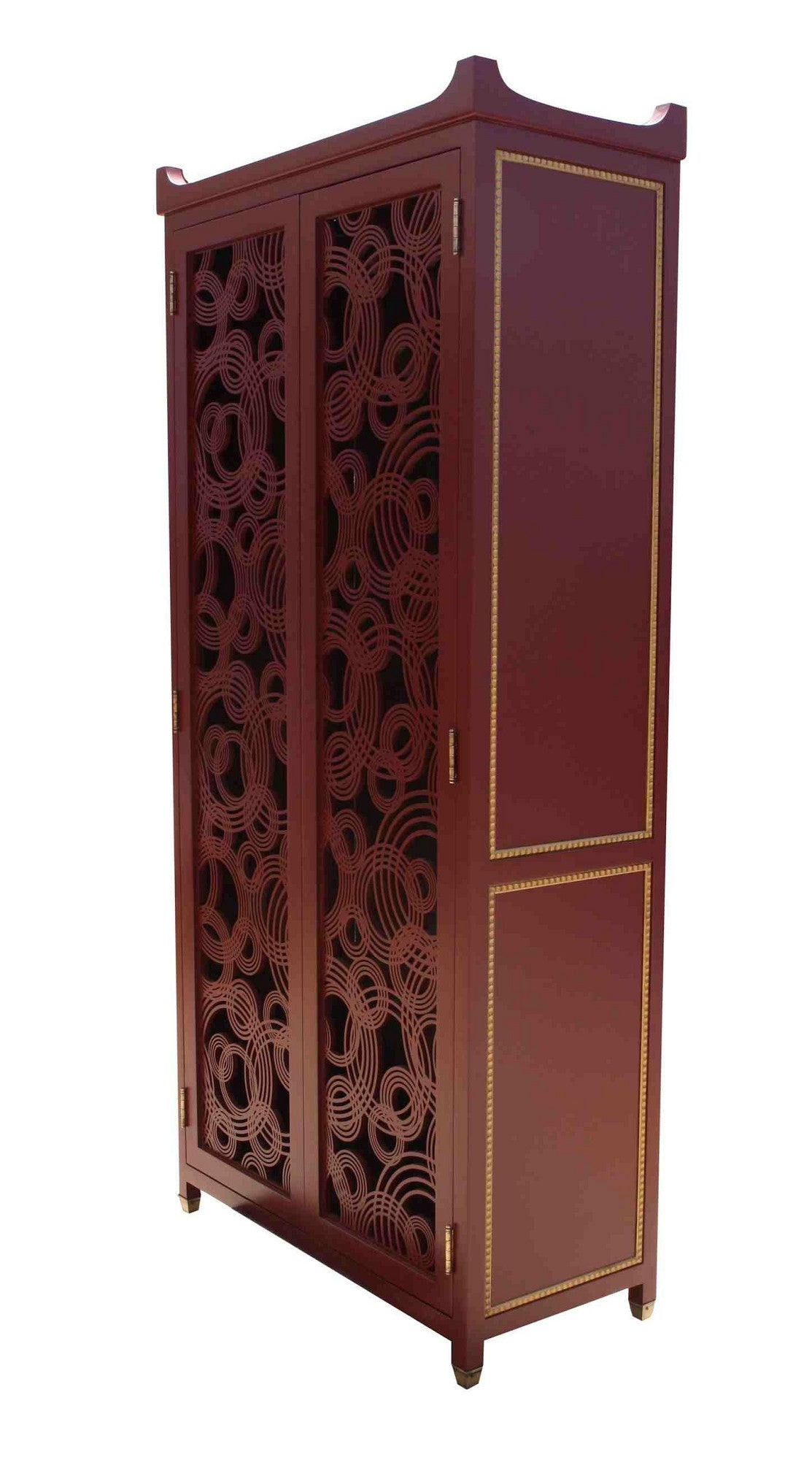 Red Lacquer Entertainment Cabinet With Laser Cut Door