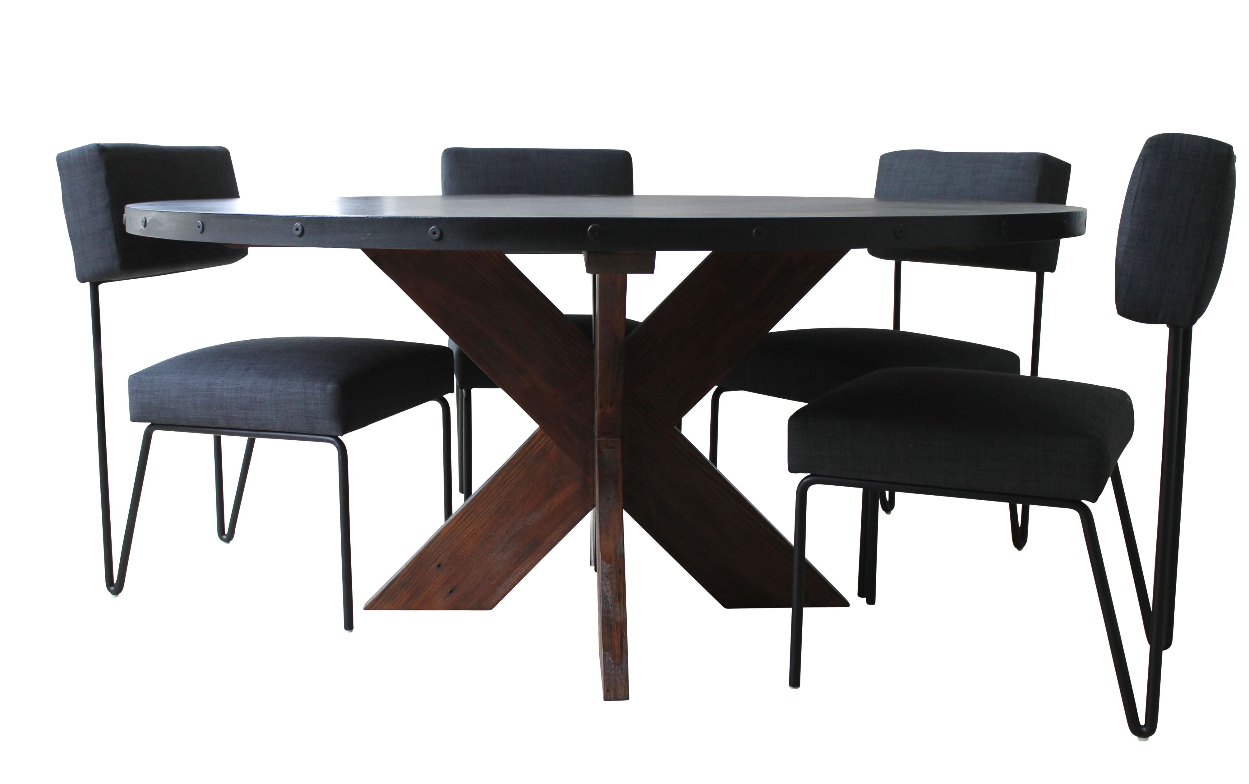 metal base dining table. Modern Round Metal Top X Base Dining Table