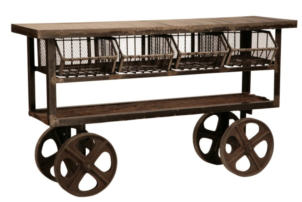 Urban Industrial Trolley with Metal Basket Drawers and Reclaimed Wood Top