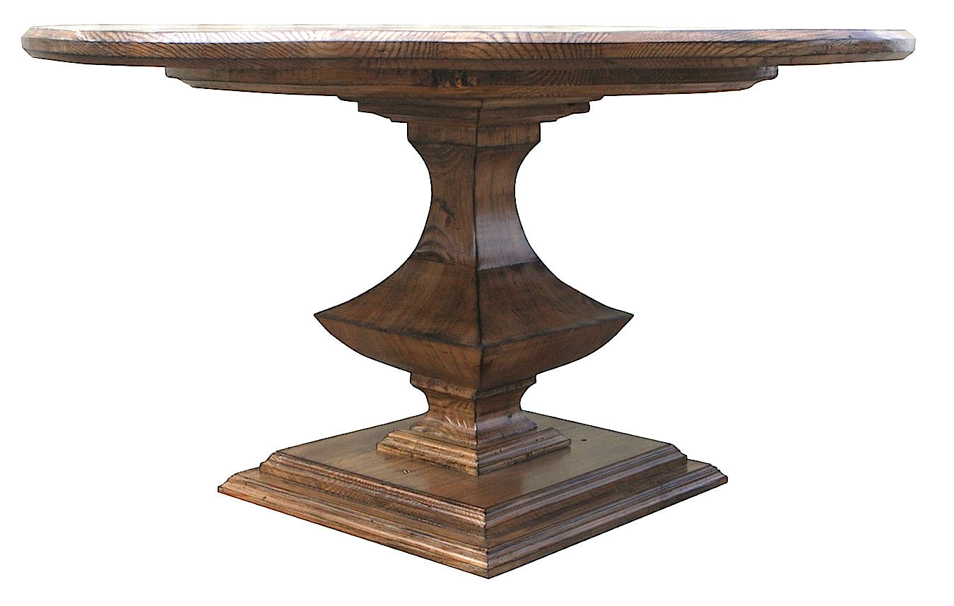 rustic salvaged wood round pedestal table