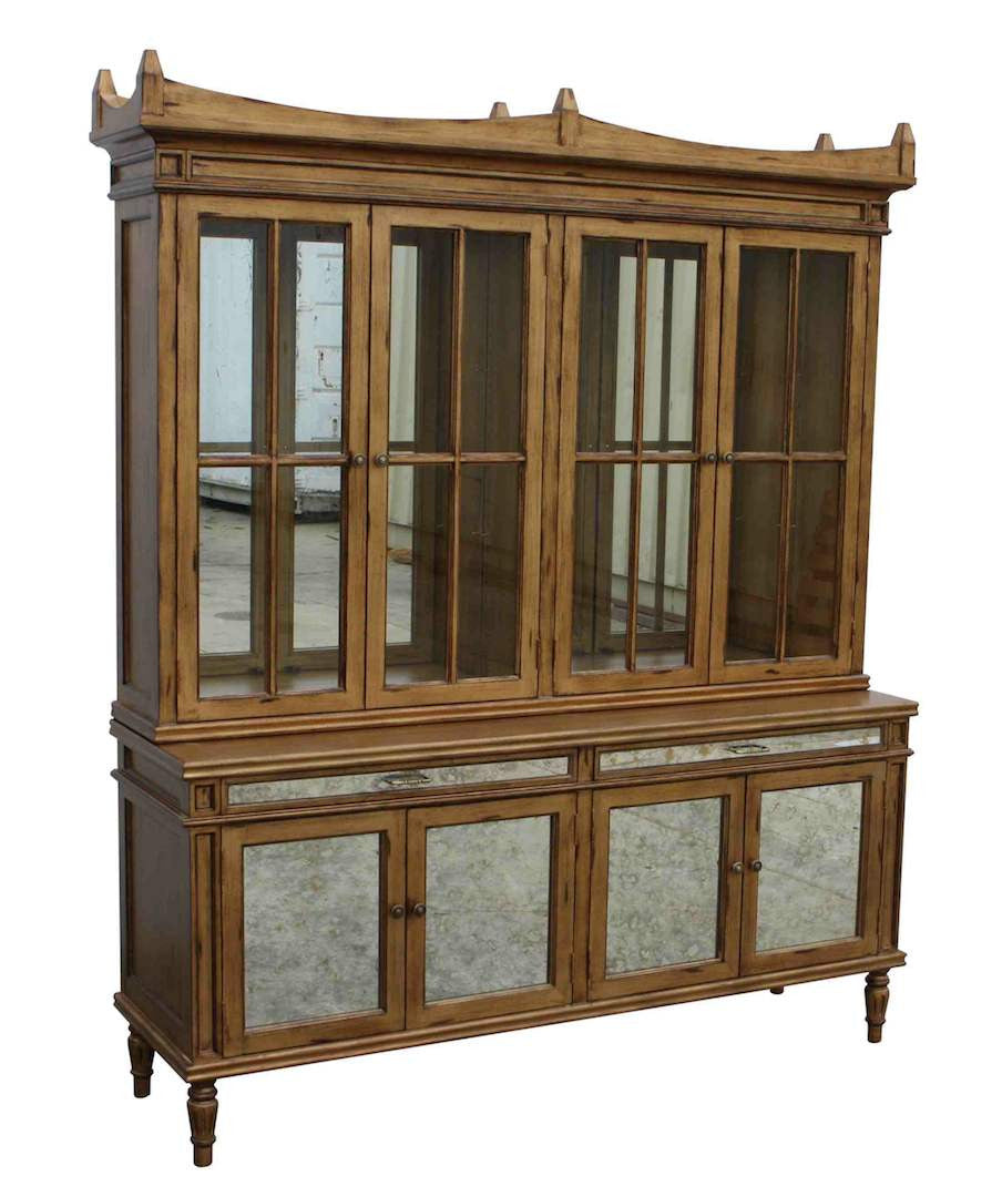 Dining Room Glass Hutch Finished In A Antiqued Gold Hardwood