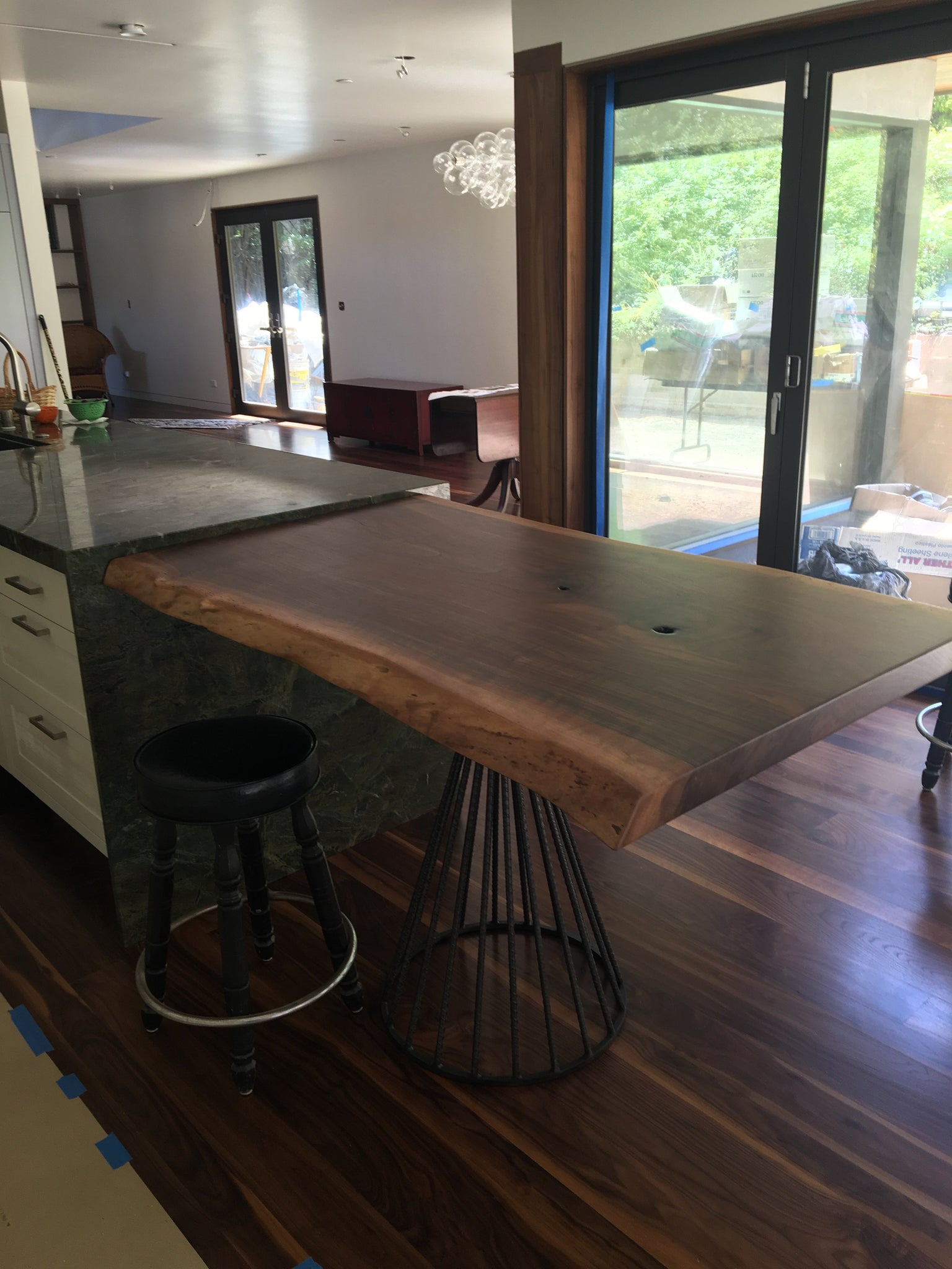Rebar and Live Edge Walnut Counter Height Dining Table