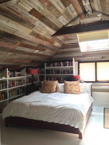 Salvaged Barn Wood and White Built-in Bookcase - Ocean Front Malibu Library