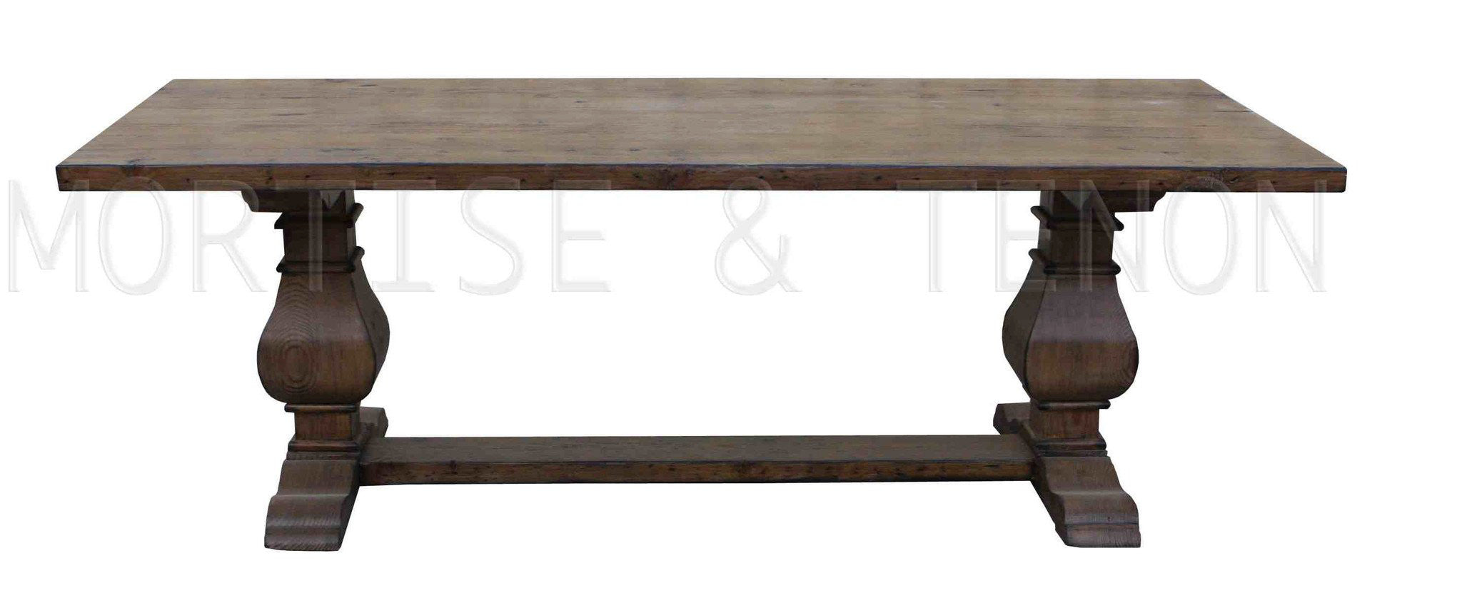 Dining tables mortise tenon for Reclaimed wood furniture los angeles