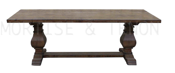 Custom dining tables handmade from traditional trestle for Reclaimed wood furniture los angeles