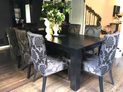 Extension Dining Room Vignette Featuring a Satin Dining Table and Chairs