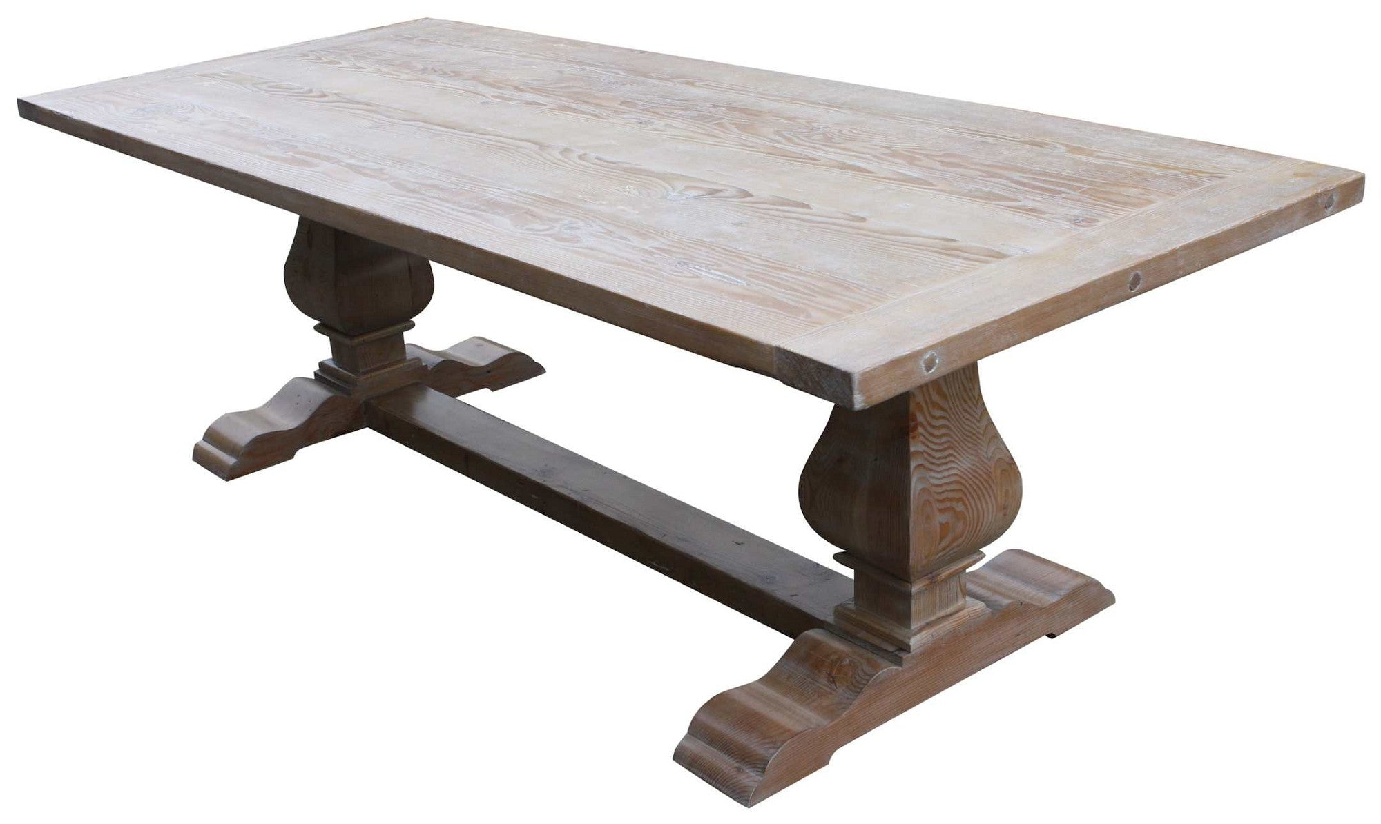 Custom Dining Tables Handmade From Traditional Trestle Tables Leaf - Bleached wood dining table